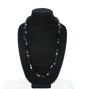 """Beautiful black and silver beaded necklace 28"""""""